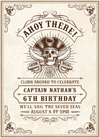 human skull: Vintage Looking Invite Template for a Party or Event with Death or Pirate Theme