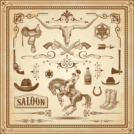 Une collection d'ornements Wild West, avec des cadres, des règles, des ornements de coin et clip arts. Banque d'images - 44165989