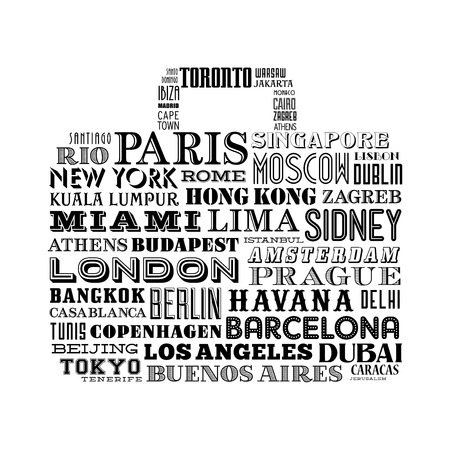 travel bag: Vector design of a travel bag shape composed of famous city names from all over the world Illustration