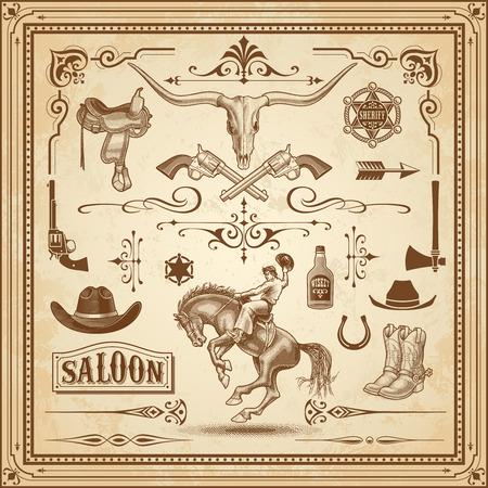 Een verzameling van Wild West ornament, met frames, linialen, hoek ornamenten en clip arts.
