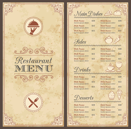 A Classic Restaurant Menu Template with nice Icons in an Elegant Style with a grunge background