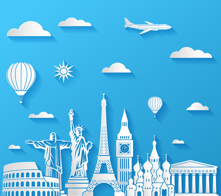 built: Vector composition of famous monuments in front of a sunny sky with an airplane and air balloons.