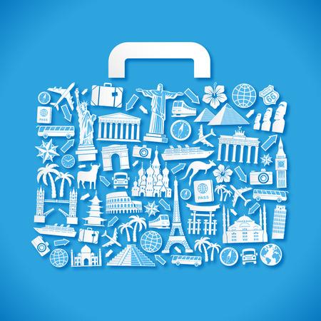 monumento: Ilustración vectorial de un equipaje compone de iconos de viaje y monumentos famosos