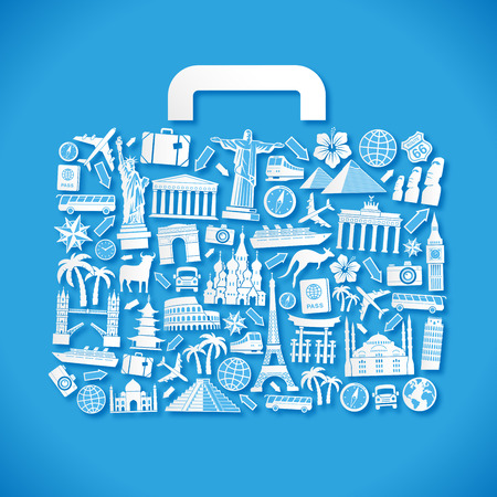 luggage travel: Vector Illustration of a luggage composed of travel icons and famous monuments