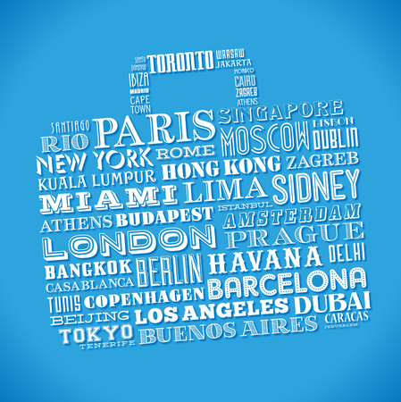 single word: Vector design of a grunge travel bag composed of famous city names from all over the world Illustration