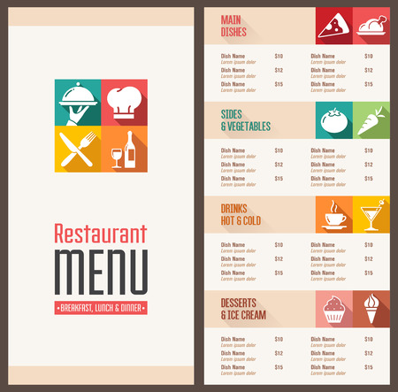 commercial kitchen: A Modern Restaurant Menu Template with nice Icons in Flat Shadow Style
