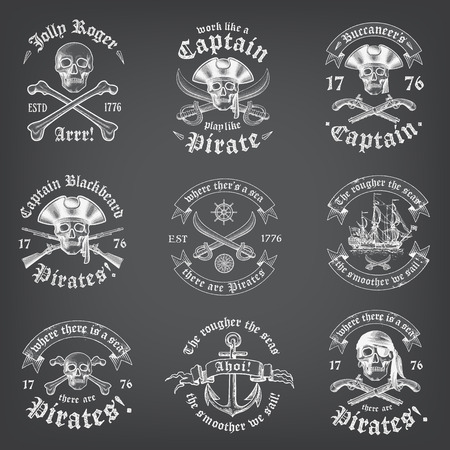 drapeau pirate: Vintage Looking Skull Pirate Logos et Insignia sur un fond tableau Illustration