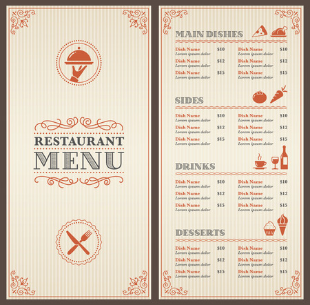 people eating restaurant: A Classic Restaurant Menu Template with nice Icons in an Elegant Style