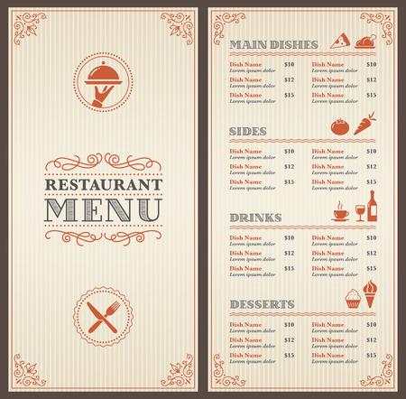 menu de postres: Un restaurante cl�sico de plantillas de men� con bonitos iconos en un estilo elegante Vectores