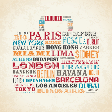 name: Vector design of a grunge travel bag composed of famous city names from all over the world Illustration