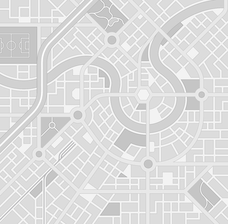 A generic city map pattern of an imaginary location in shades of grey Illustration
