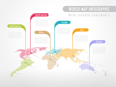 Perspective Pixelated World Map with Labels pointing each Continent Illustration