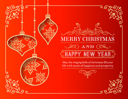 winter holiday: A nice Christmas Greeting Card with 3 cut out christmas baubles decorated with snowflakes