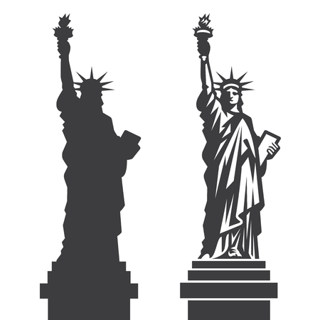 Double silhouette of the famous Statue of Liberty in New York City Çizim
