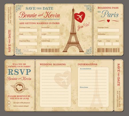 결혼식 초대장 3 안녕하세요 세부 벡터 그런 지 티켓과 날짜를 저장합니다. 각 티켓은 텍스트, Decos, 질감 효과와 배경 모양 구분 4 다른 레이어에  일러스트