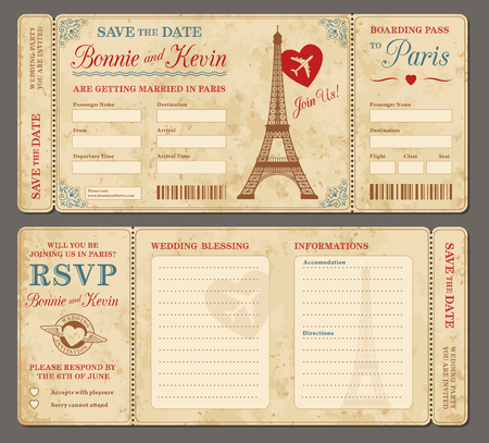 3 hi detail Vector Grunge Tickets for Wedding Invitations and Save the Date. Each ticket is on 4 different layers with Text, Decos, texture effect and background shape separated. Illustration