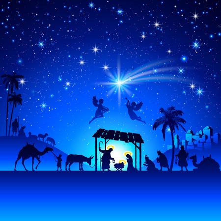 jesus birth: Alto detalle Vector natividad Escena de la Navidad.