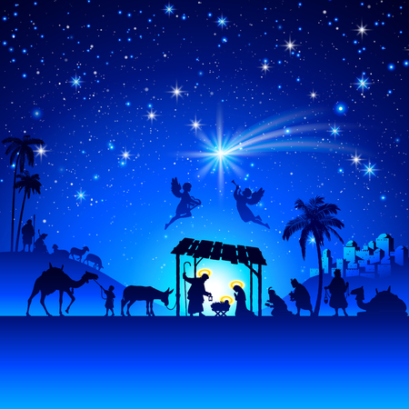 silhouet mens: High detail Vector nativity Christmas Scene.
