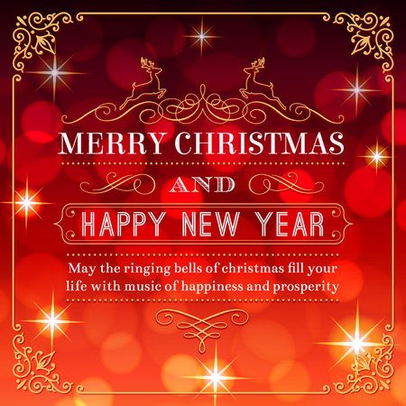 christmas lights: A nice Christmas Greeting Card with a Red background full of flares and lights.