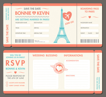 Hi detail Vector Grunge Tickets for Wedding Invitations and Save the Date in Paris . Each ticket is on 4 different layers with Text, Decos, texture effect and background shape separated. Vettoriali