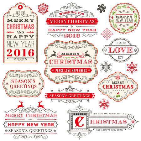 A set of Elegant Christmas vector labels and happy 2016 year Illustration