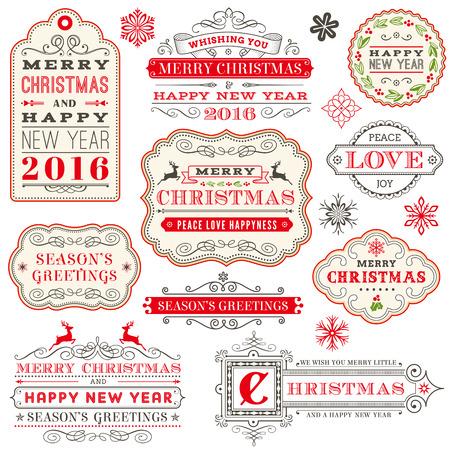 renna: Una serie di eleganti etichette vettore di Natale e felice 2016 anno