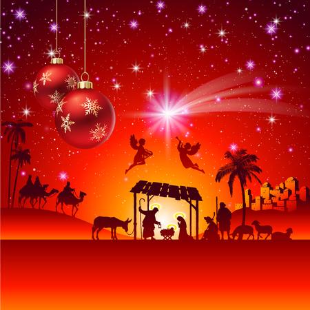 religions: High detail Vector nativity Christmas Scene.