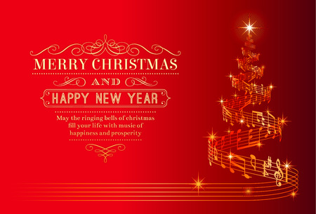 light red: A nice Christmas Greeting Card with a Christmas tree composed by a flowing music pentagram Illustration