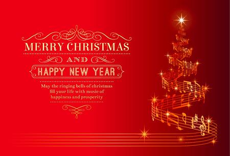 Una tarjeta bonita felicitación de Navidad con un árbol de Navidad compuesto por un pentagrama de la música que fluye Ilustración de vector