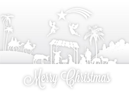 lamb of god: High detail Vector nativity Christmas Scene.