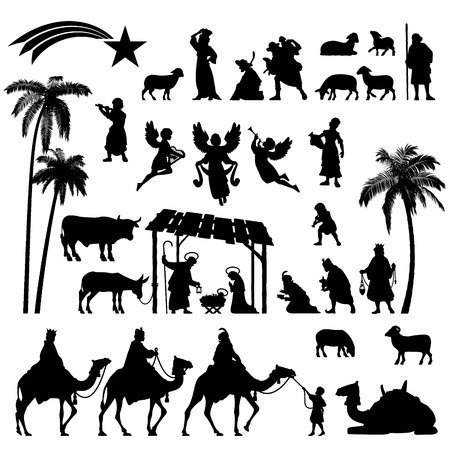 High detail Vector nativity Christmas set of Black silhouettes.