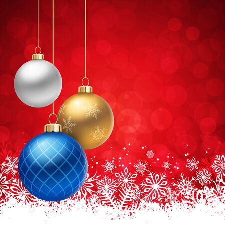 christmas balls: A Red Christmas background, with multicolored christmas balls decorated with snowflakes, hanging from above.