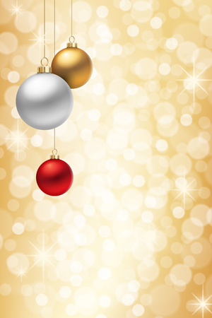 A Golden Christmas background, with three multicolored christmas balls decorated with snowflakes, hanging from above. Stock Illustratie