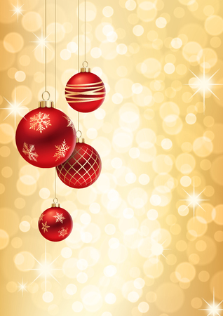A Golden Christmas background, with 4 multicolored christmas balls decorated with snowflakes, hanging from above.