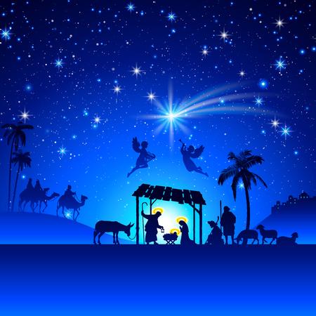 family praying: Alto detalle Vector natividad Escena de la Navidad.