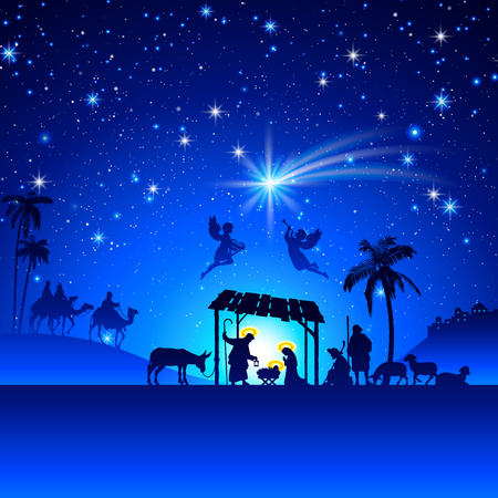 nighttime: High detail Vector nativity Christmas Scene.