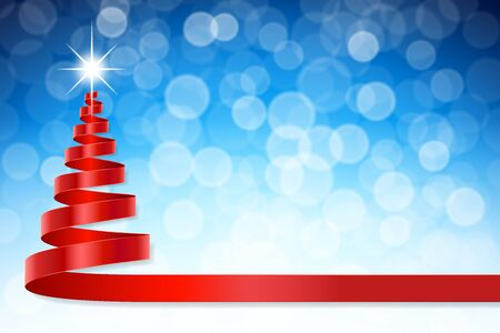 isolated tree: A christmas ribbon shaped like a a Christmas Tree with a shiny light effect on its Top and a blue defocused background. Illustration