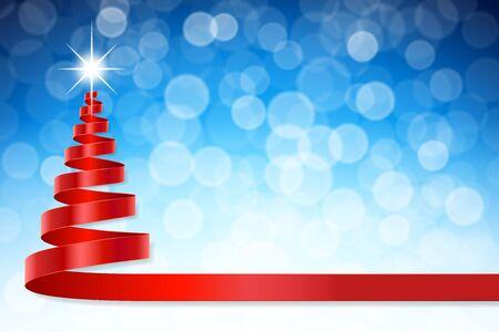 """espiral: Una forma como a un árbol de navidad con un efecto de luz brillante en su """"Top"""" y un fondo desenfocado de la cinta azul de la Navidad. Vectores"""