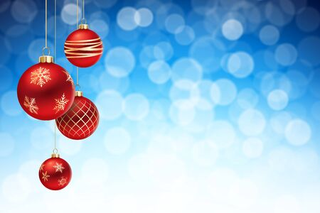 balls decorated: A Blue Christmas background, with 4 multicolored christmas balls decorated with snowflakes, hanging from above.