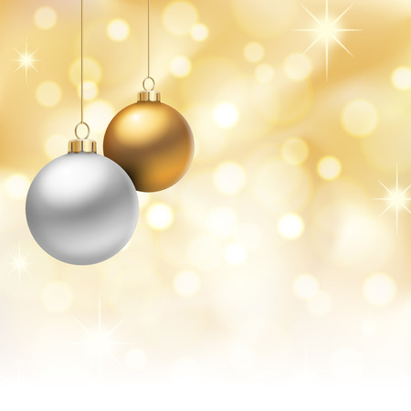 A Golden Christmas background, with multicolored christmas balls decorated with snowflakes, hanging from above. Illustration