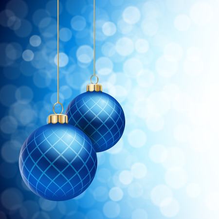 balls decorated: A Blue defocused Christmas background, with two blue striped christmas balls decorated with snowflakes, hanging from above. Illustration