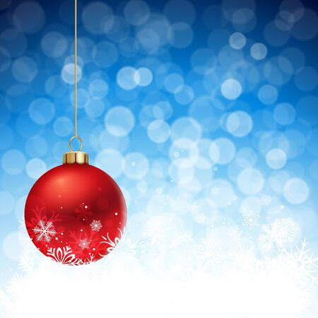 christmas isolated: A Blue defocused Christmas background, with two blue striped christmas balls decorated with snowflakes, hanging from above. Illustration