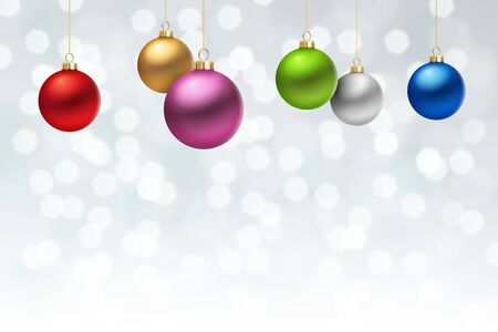 balls decorated: A White Christmas background, with many multicolored christmas balls decorated with snowflakes, hanging from above.