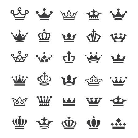 서른 벡터 왕관 간단한 흑백 아이콘의 큰 컬렉션 일러스트