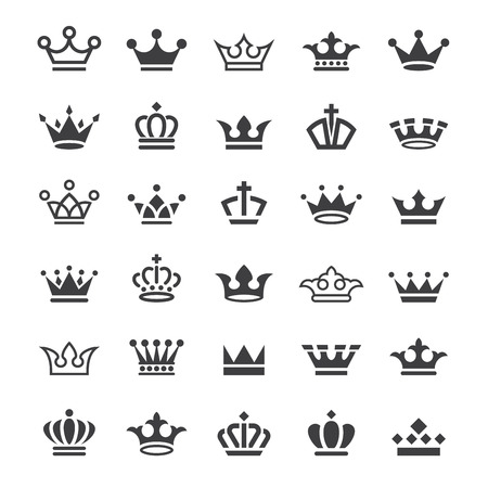 Big collection of thirty vector crown simple black and white icons