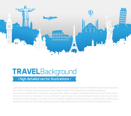 A Template of a page with famous monuments and bulidings skyline from all over the world. 版權商用圖片 - 46912781