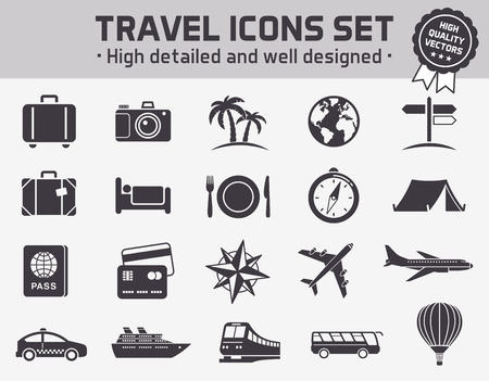plate camera: Collection of twenty high quality icons set for travel ant tourism