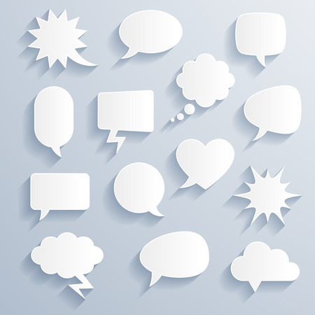 Set of funny vector shaded comic baloons of various shapes