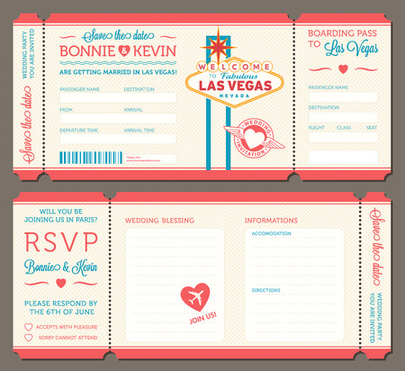 las vegas: 3 hi detail Vector Grunge Tickets for Wedding Invitations and Save the Date. Each ticket is on 4 different layers with Text, Decos, texture effect and background shape separated. Illustration