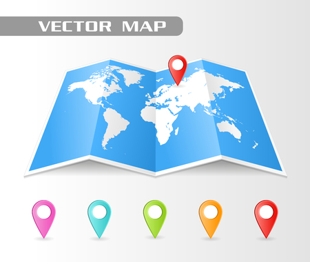 map pointers: Full vector Folded map of the world with a perspective view. Complete with colorful map pointers.